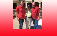 Early Polling Activity 96 Year Old Vet Votes  ...On Left to Right; Bobby Lindamood, Emory Demlier, Richard Newton
