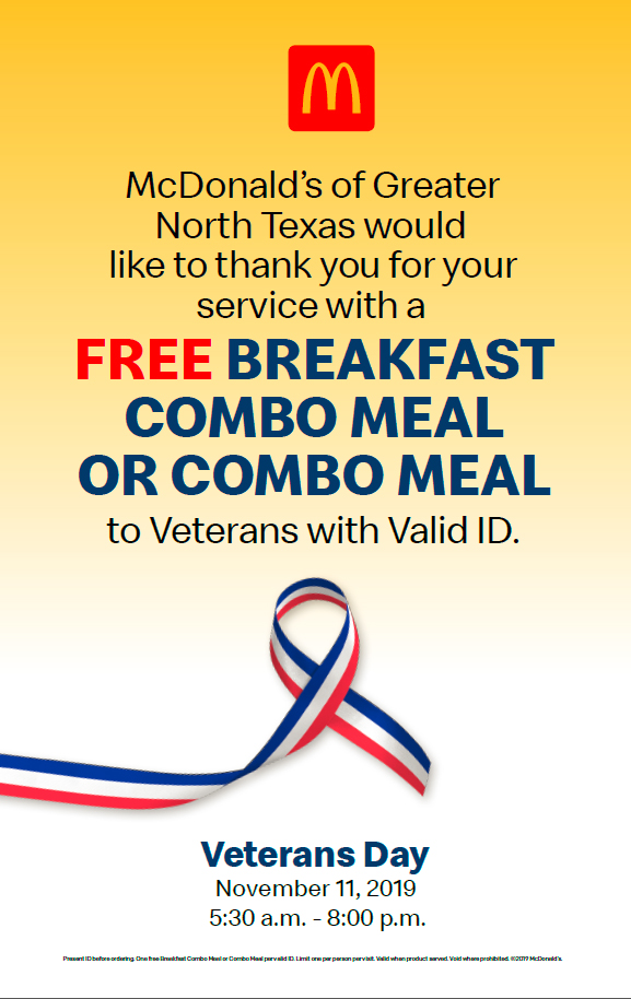 Vets eat free on Veterans Day!